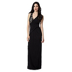 Debut - Black lace wrap maxi evening dress