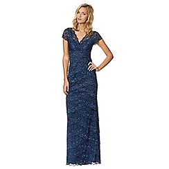 Debut - Dark blue beaded lace maxi evening dress