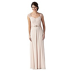 Debut - Rose embellished and lace detail evening dress