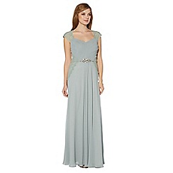Debut - Pale green ruched and lace bodice maxi dress