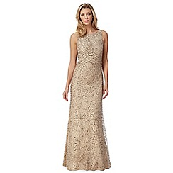 Debut - Gold beaded mesh maxi evening dress