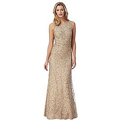 Debut - Gold beaded mesh maxi evening dress