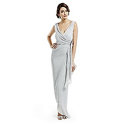 Debut - Silver shimmering waterfall maxi evening dress