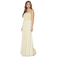 Debut - Light yellow floral applique maxi dress