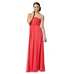 Debut - Dark pink floral applique bandeau maxi dress