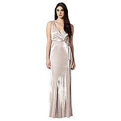 Debut - Light gold pleated maxi dress