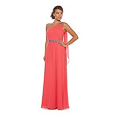 Debut - Bright pink one shoulder chiffon maxi dress