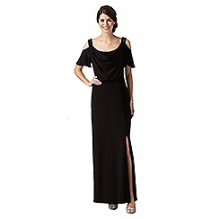 Debut - Black flutter sleeved cowl maxi evening dress