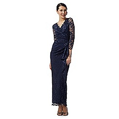 Debut - Navy lace waterfall maxi evening dress
