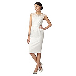 Debut - Ivory jacquard and lace midi dress