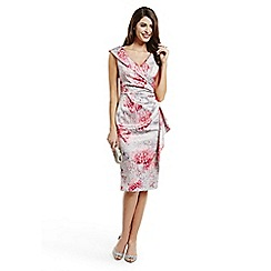 Debut - Pink floral shawl collar dress