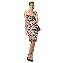 Debut - Green floral print bandeau dress