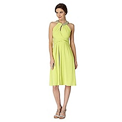 Debut - Lime embellished drape jersey dress
