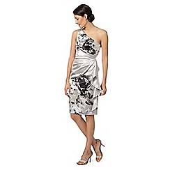 Debut - Silver one shoulder strap floral satin shift dress