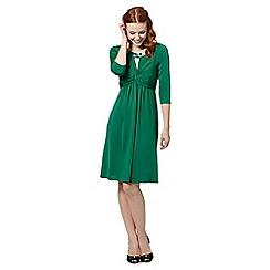 No. 1 Jenny Packham - Designer dark green beaded neck jersey dress
