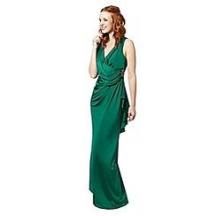 No. 1 Jenny Packham - Designer dark green jersey maxi evening dress