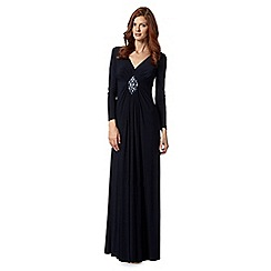 No. 1 Jenny Packham - Designer navy embellished front jersey maxi dress