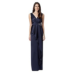 No. 1 Jenny Packham - Designer navy peplum satin maxi evening dress