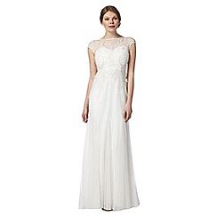 No. 1 Jenny Packham - Designer ivory floral embellished mesh maxi dress