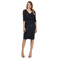 No. 1 Jenny Packham - Navy jocasta sequined detail v-neck dress
