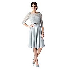 No. 1 Jenny Packham - Designer Selena pale green lace bodice midi dress