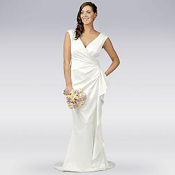 Ivory satin wrap wedding dress