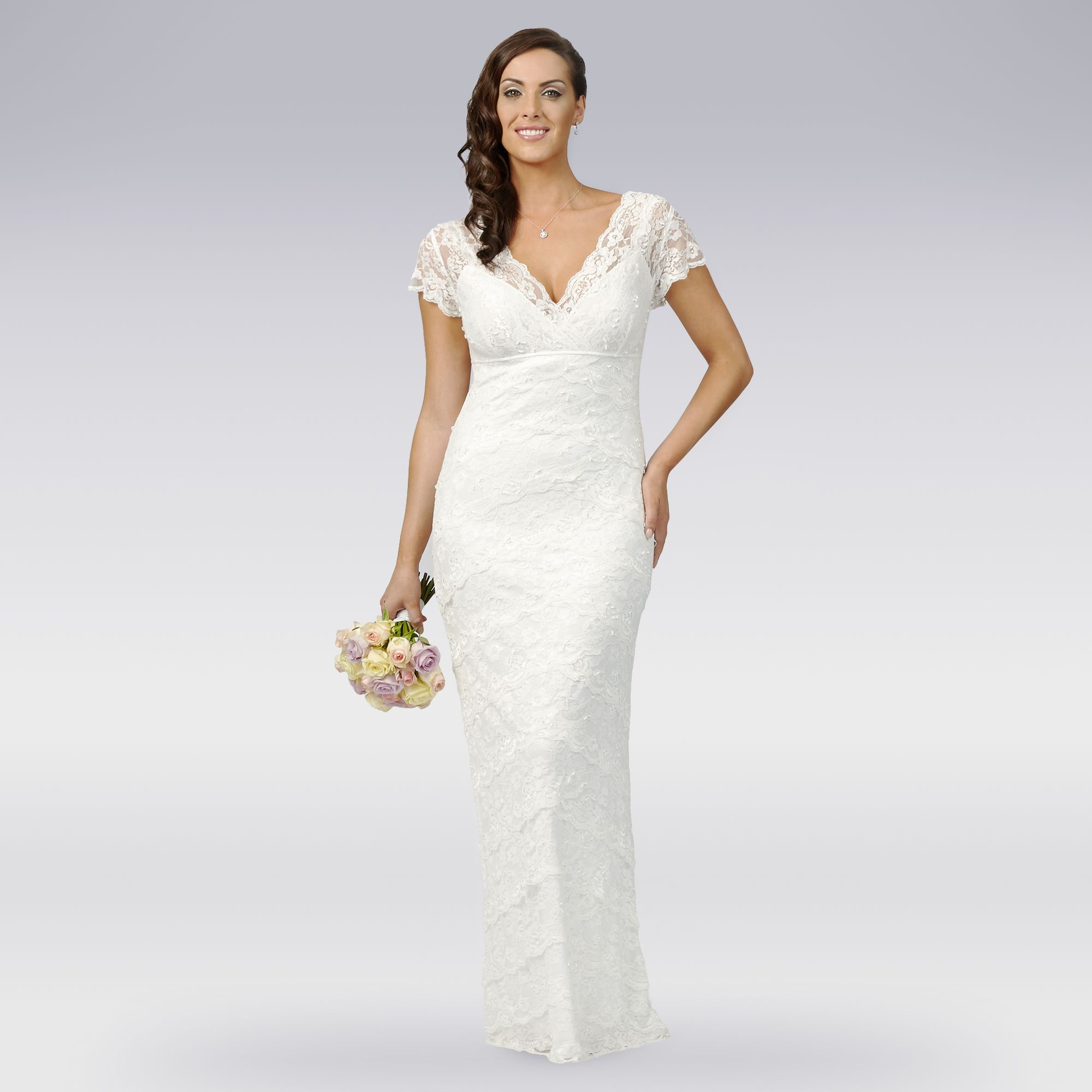 Debut Womens Ivory Tiered Lace Wedding Dress From