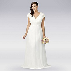 Debut - Ivory floral applique pleat wedding dress