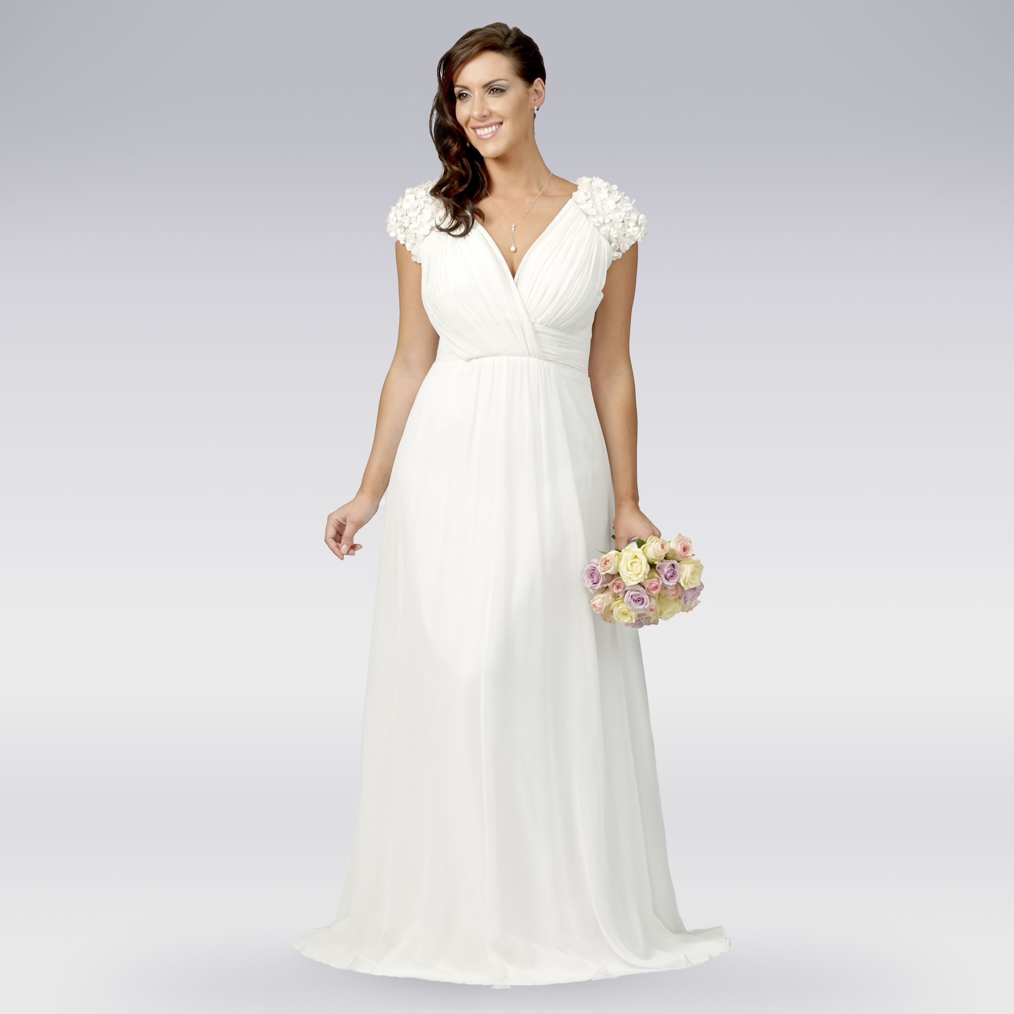 debut womens ivory floral applique pleat wedding dress