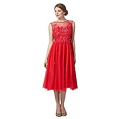 Pearce II Fionda - Designer red sequin floral dress