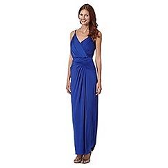 Pearce II Fionda - Designer bright blue beaded strap maxi dress