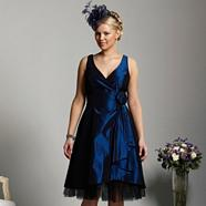 Dark blue taffeta prom dress