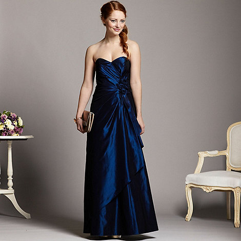 Debut - Dark blue taffeta rose ball gown
