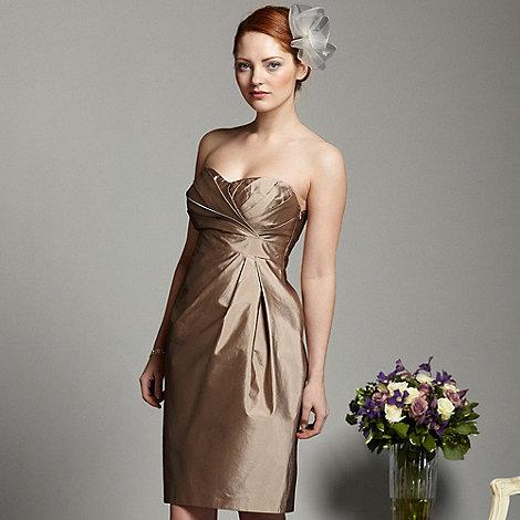 Debut - Light gold tuck bandeau shift dress