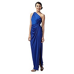 Debut - Jasmine bright blue draped one shoulder evening dress