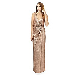 Debut - Gold textured foil-effect maxi dress