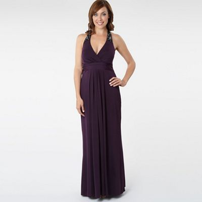 Dark Purple Jersey Maxi Dress