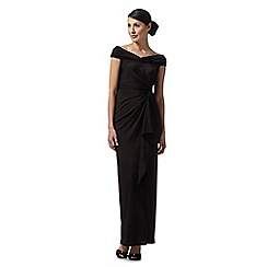 Debut - Marina black ruched neck maxi evening dress