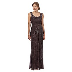Debut - Dark red cowl neck shimmer maxi evening dress