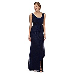 Debut - Bright blue cowl neck shimmer evening dress