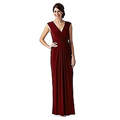 Debut - Wine metal bar jersey maxi evening dress