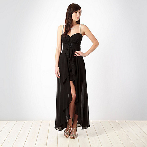 Debut - Black beaded circle evening maxi dress