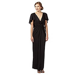 Debut - Davina black twist front cape maxi evening dress