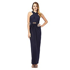 No. 1 Jenny Packham - Lexi navy cross front maxi evening dress