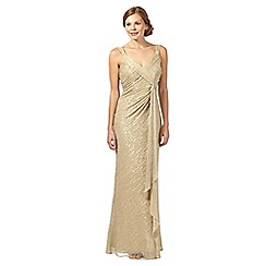 Debut - Anjeli gold shimmer waterfall evening dress