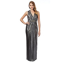 Debut - Dark grey foil maxi evening dress