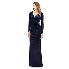 Debut - Navy velvet waist embellished maxi dress