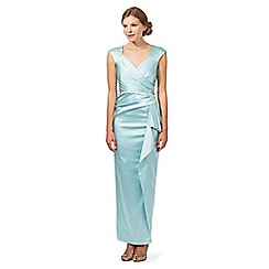 Debut - Pale green satin waterfall maxi dress