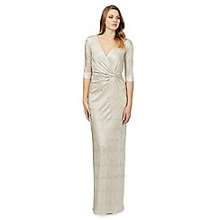 Debut - Gold three quarter length sleeve maxi dress