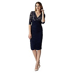 Debut - Roxy navy lace sequin floral jersey dress